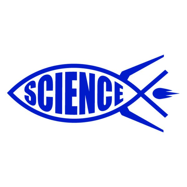 Science-rocket-fish-ichthys-in-blue-facing-left