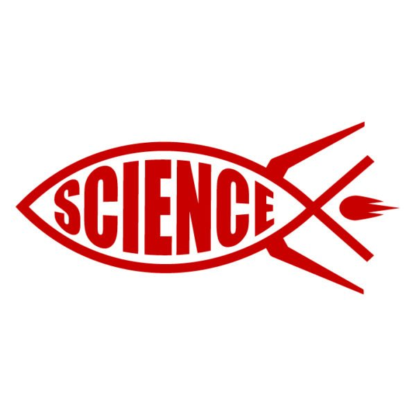 Science-rocket-fish-ichthys-in-red-facing-left